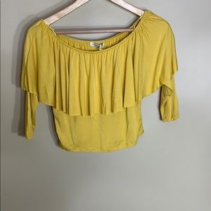 Cotton on NWT mustard yellow crop top with ruffle